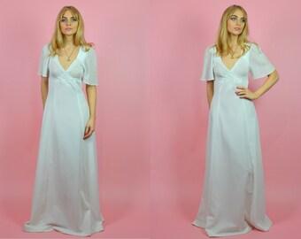 Vintage 70s White & Silver Ephemeral Bohemian WEDDING Dress