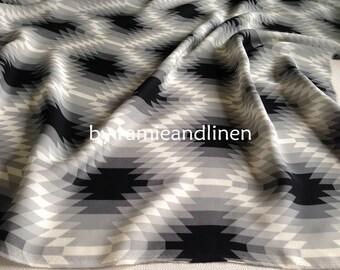 "silk fabric, 21m/m double georgette pure mulberry silk fabric,  geometric pattern print, dress fabric, scarf fabric, half yard by 46"" wide"