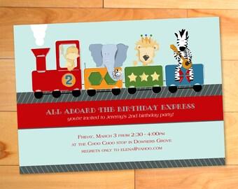 Train Birthday Party Invitation, Choo Choo Birthday Card, Train Birthday Invite,Printable, Zoo Animals, Monkey, Zebra, Lion, Elephant