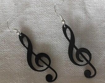 Treble clef earrings black