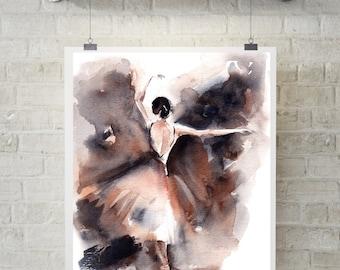 Ballerina Art Print, Watercolor Print, Ballet Painting, Ballerina, Modern Wall Art, Dance Art, watercolour painting art, ballet art print