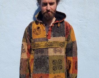 Men and Women's Heavy Cotton Colourful Patchwork Hoody Pullover With Block Print, Earth Tone Colours M L XL XXL