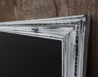 SET: Magnetic Chalkboard with magnets - Heavily Distressed White Black Vintage Style Frame - 23.5 x 17.5 in. Magnetic Board Set - Magnet Set
