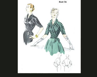 1950s 50s Reproduction E Pattern Vintage Sewing Pattern Easy to Make Wrap Blouse Bust 36 PDF INSTANT DOWNLOAD