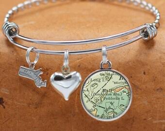 Map Bracelet Hull Massachusetts State of MA Bangle Cuff Bracelet Vintage Map Jewelry Stainless Steel Bracelets