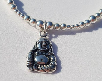 Aurora sterling silver bead stretch bracelet with buddha charm stackable