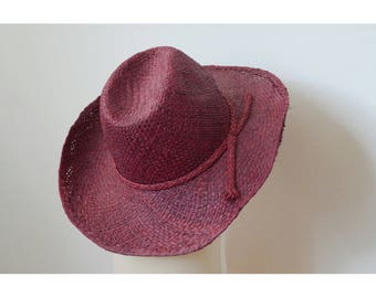Sun Hat, tooled, finely handwoven raffia, with a bow on the side, Brown Burgundy color
