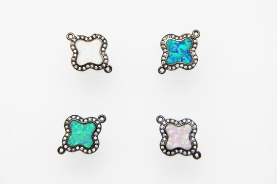 Synthetic Opal With CZ Micro Pave 14mm Clover Connector
