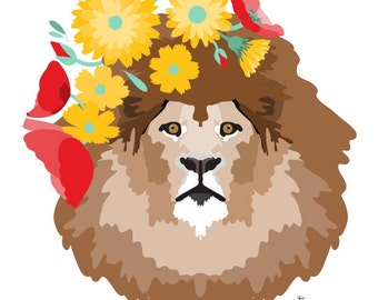 Lion Nursery art print  - Dandy Lion - Colorful art, Woodland Nursery Art, Woodland lion Art , baby nursery decor, nursery wall art, flowers