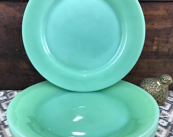 Set of 4 Fire King Jadeite Jadite Restaurant Ware Dinner Plates