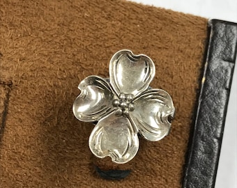 Antique Vintage Style Sterling Silver 925 Designer BEAU Dogwood Flower Ring