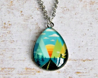 wander pendant, travel jewelry, colorful jewelry, mountain pendant, bohochic, gift for her, traveller gift, motorcycle jewelry