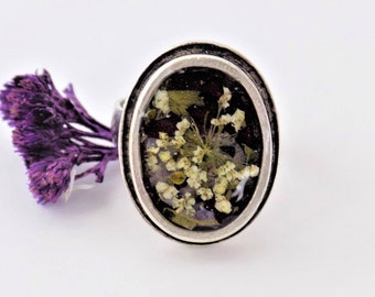 Real Flower Ring, Silver Ring, Adjustable Ring, Women, Jewellery, Jewelry, Floral Jewelry, Terrarium, Real Flowers, Pressed Flower Jewelry