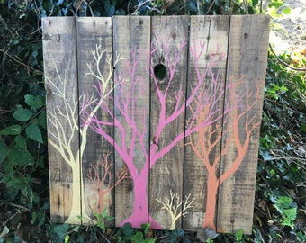 Fall Trees Rustic Pallet Painting