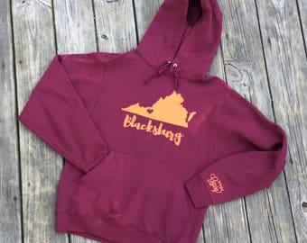 Blacksburg, VA Hooded Sweatshirt - Blacksburg, VA Maroon and Orange Gameday Pullover Hoodie - Virginia Love Hoodie Sweatshirt