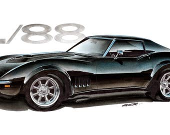 1969 Corvette L88 12x24 inch Art Print by Jim Gerdom