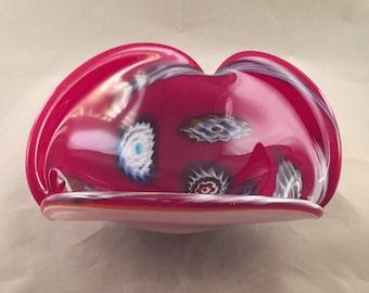 Cased Murano Blown Art Glass Bowl - Mid-century Art Glass - Modern - Free Form Sculpture