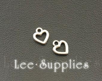 50pcs Antique Silver Alloy Mini Love Heart Charms A1077