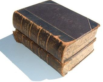 1897 Illustrated The Student's Cyclopaedia Marbled Edges Desktop Volume I & II Antiquarian Books