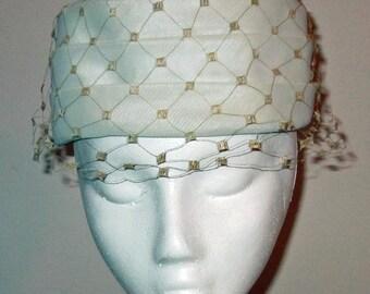 Vintage Ladies White Dress Hat with Cream Netting