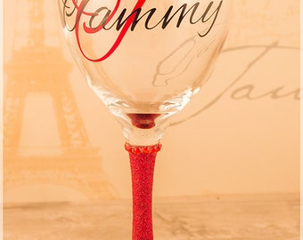 Personalised glitter wine glass with initial and name