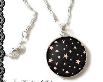 Chaîne argent 925 Sterling : Collier avec son cabochon 25 mm * étoiles * (101216)