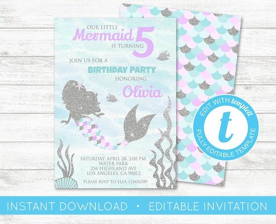 Edit yourself mermaid invitations mermaid birthday solutioingenieria Images