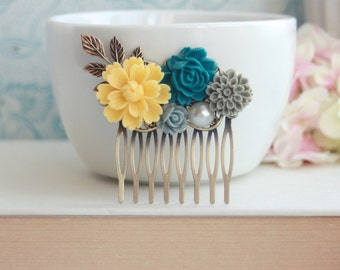 A Yellow Chrysanthemum, Teal Blue, Grey, Dusty Blue, Brass Leaf, Pearl, Antiqued Inspired Flower Hair Comb. Bridesmaid Gift. Maid Of Honor.