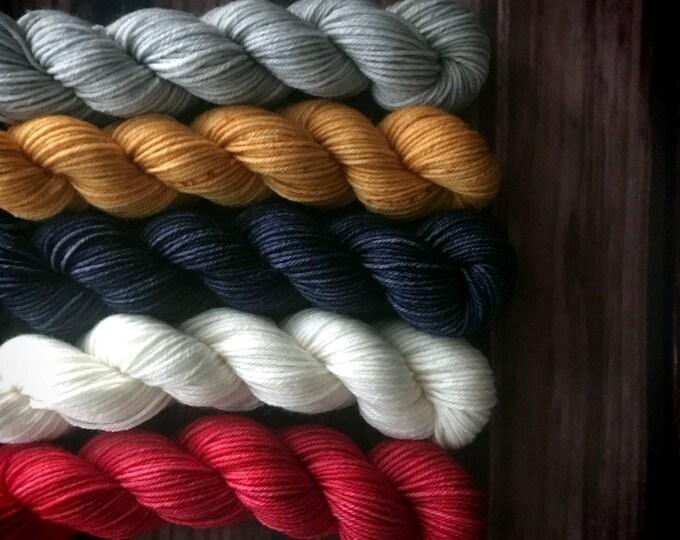 Hand Dyed Yarn, Sock Yarn, Indie Dyed Yarn, Merino Wool Yarn, Mini Skein Set - February YOTM:  Go For the Gold Mini Skein Set on Simple Sock