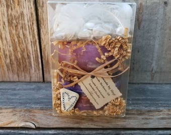 """Large BOX OF FLARE with Purple Sandalwood Scented 4"""" x 4"""" Cylinder Candle with Shell Fragments and Beach Rocks"""