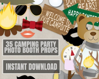 35 Camping Party Photo Booth Props, Campsite themed party props, love glamping party photobooth sign, camper party props, diy camp party