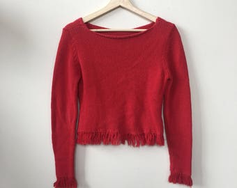 1990s Womens Vintage Red Sweater with Fringe