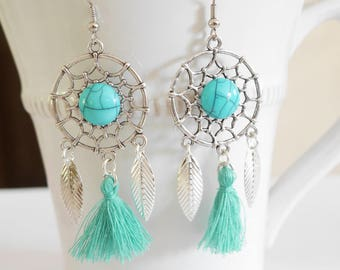 Jokes dreams, and silver and turquoise tassel earrings