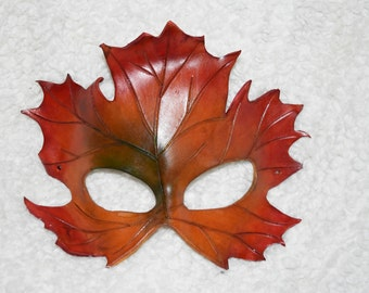 Maple leaf leather mask - autumn colours - this one available now