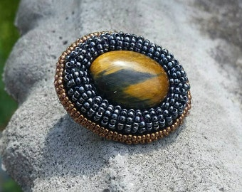Tigers Eye Bead Embroidery Pin