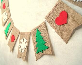 Christmas Tree Snowflake Hearts Burlap Banner Bunting