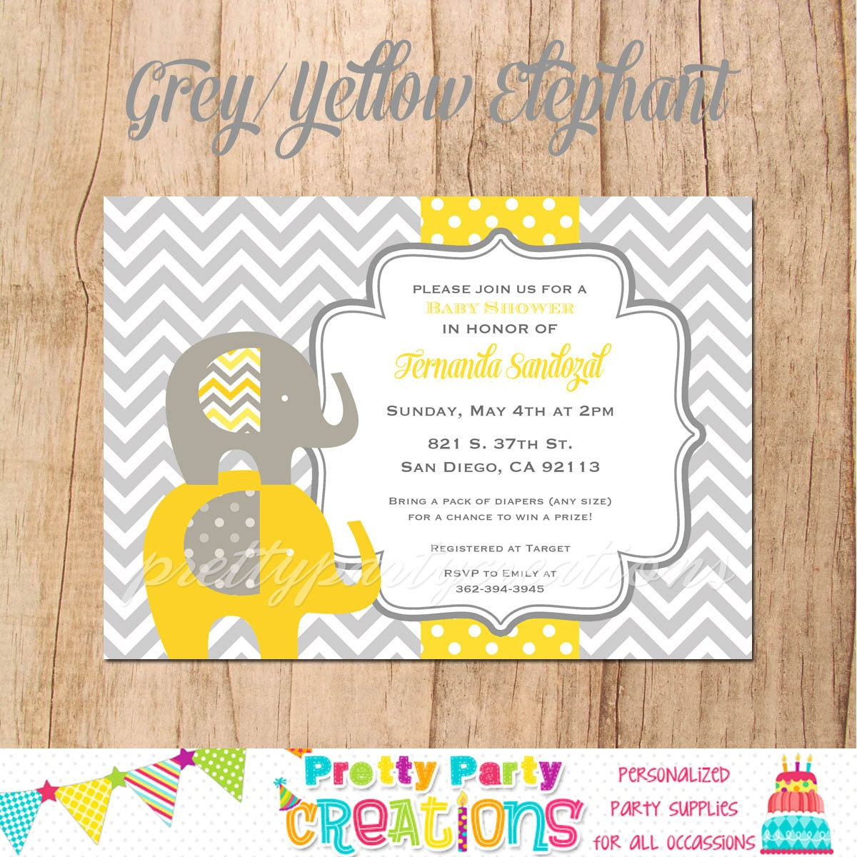 GREY and YELLOW ELEPHANT Baby Shower invitation You Print
