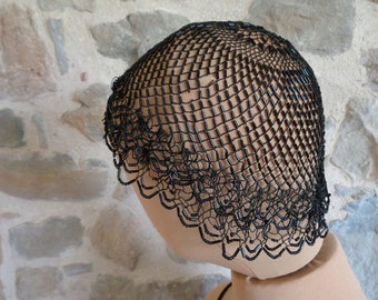 Jet beaded chapel hat, antique French mourning head covering
