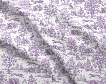 Greyhound Fabric - Purple Greyhound Toile ©2010 By Jane Walker By Artbyjanewalker - Greyhound Cotton Fabric By The Yard With Spoonflower