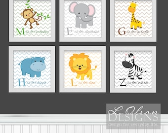 Zoo Safari Animals Chevron and Letters Nursery Art - 6 in x 6 in - INSTANT DOWNLOAD