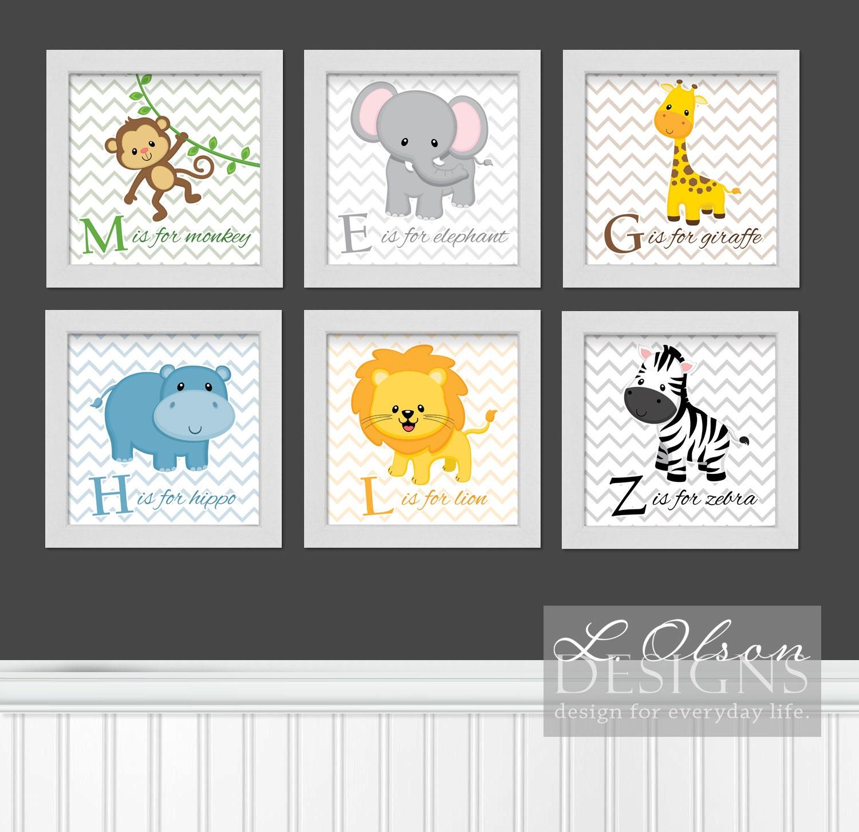 zoo safari animals chevron and letters nursery art 6 in x 6. Black Bedroom Furniture Sets. Home Design Ideas