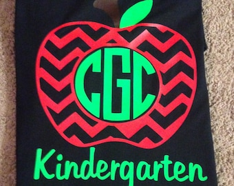 Teacher shirt, apple Shirt, Vinyl monogram Shirt,  Kindergarten, Christmas, vinyl monogram