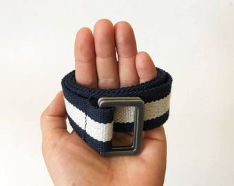 Blue Striped Short Cotton Belt Blue Army Canvas Belt D Ring Striped Canvas Belt Hipster Belt Unisex Belt Short Canvas Belt Blue Beige Belt