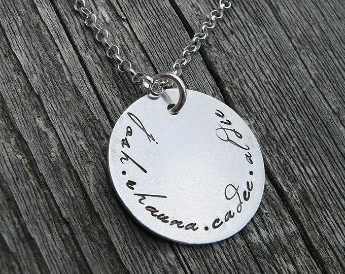 Poetry Family Pendant...Custom Sterling Necklace