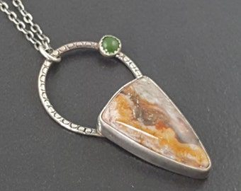 Agate and Jade Necklace, brown green, sterling silver, boho necklace, bohemian necklace, earthy, jade necklace,agate necklace, michele grady