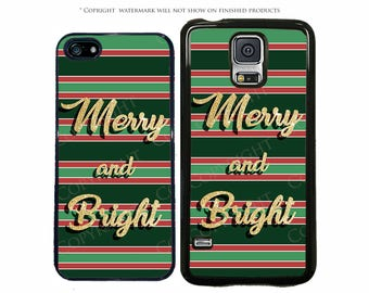 Christmas Merry and Bright Phone Case for Apple iPhone 7, 7 Plus, iPhone X, iPhone 8, Galaxy S8, S8 Plus, S7, S7 Edge, LG, Pixel, XL, Note 8
