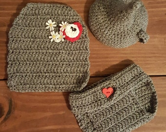 The Wizard of Oz Tin man.0-3 months Crochet Outfit