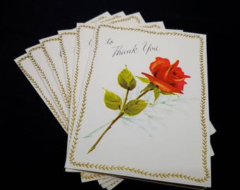 Thank You Cards Six (6) Red Rose Vintage Unused Stationery Crystal Card