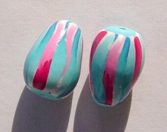 Spring Buds Teardrop Handmade Artisan Polymer Clay Bead Pair