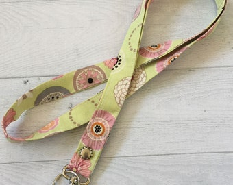 Lanyard, Key and ID Lanyard, Long Strap, Badge Holder, Lobster clasp and Keyring, Lime floral